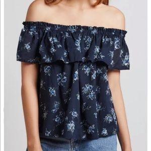 Current Elliott/ off shoulder blue flower top